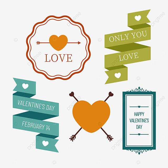 valentines day retro decorative orange love border