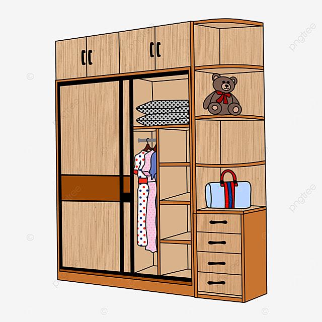 yellow wooden wardrobe cupboard clipart