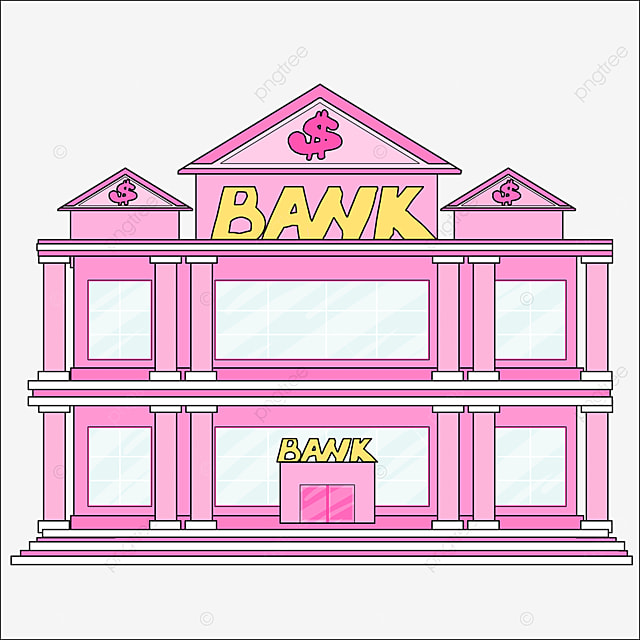 bank clipart cartoon style pink bank building