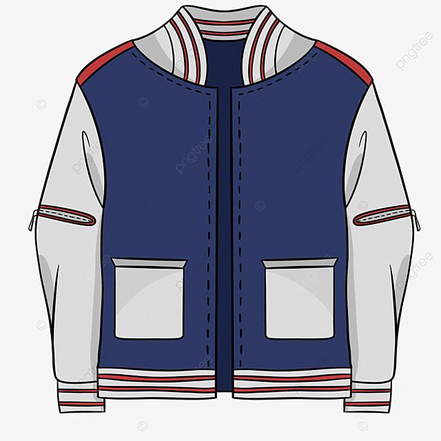 blue gray zipper jacket clipart