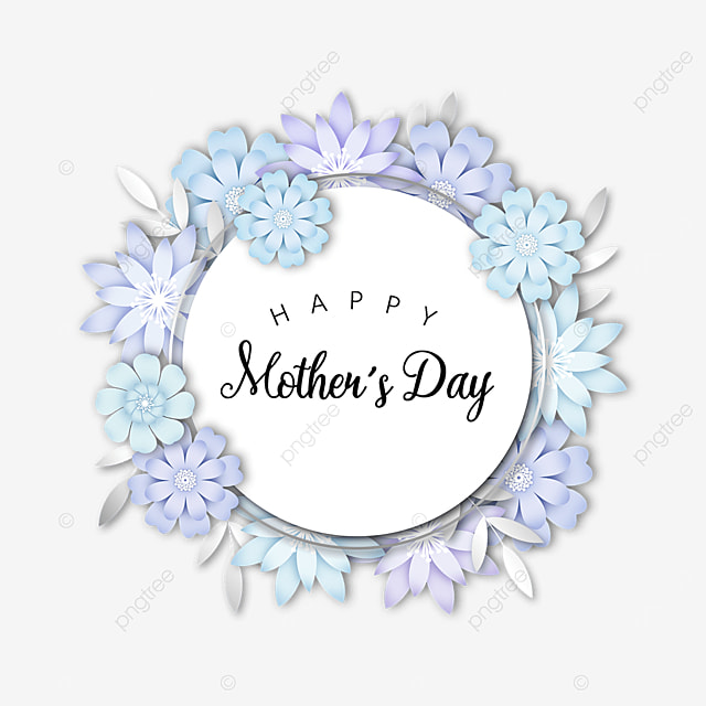 blue mothers day floral border