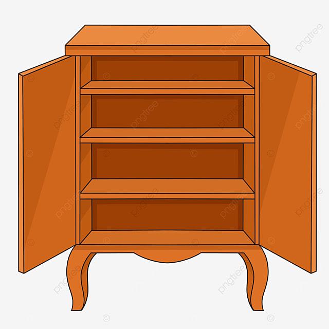 brown cartoon shelf cabinet clipart
