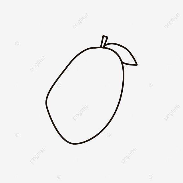 crisp and refreshing fruit mango clipart black and white