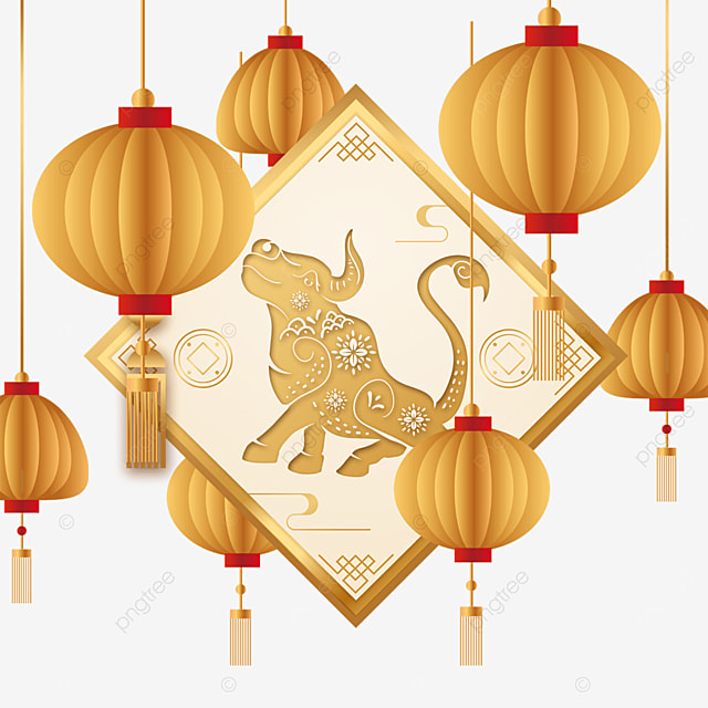 golden new year chinese new year ox border