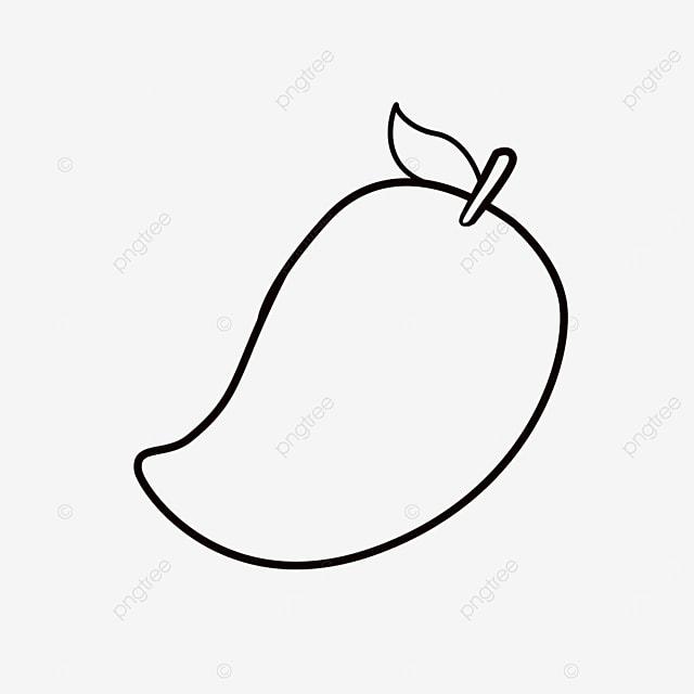 green mango clipart black and white