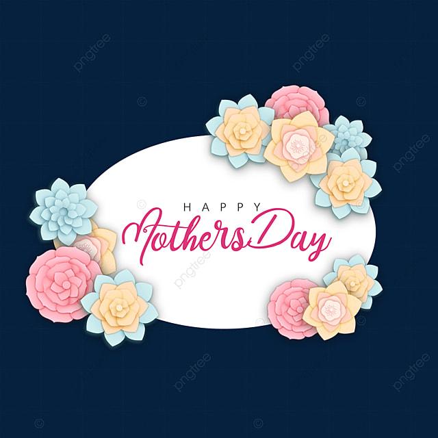 mothers day pink blue floral border