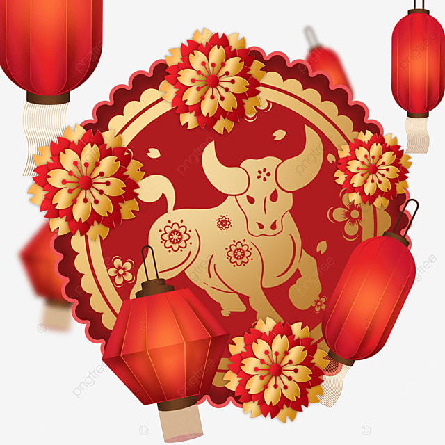 new year chinese new year lantern year of the ox