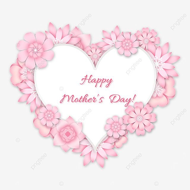 pink heart shaped floral mothers day border