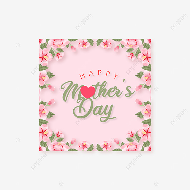 pink square mothers day floral border