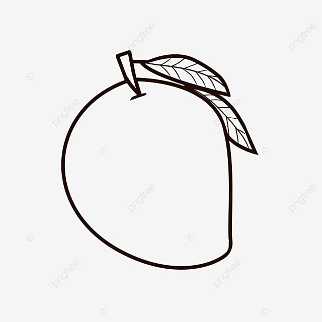 tender and soft fruit mango clipart black and white