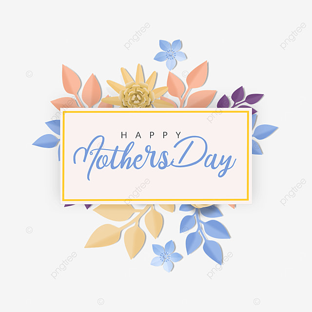 yellow and blue floral mothers day border