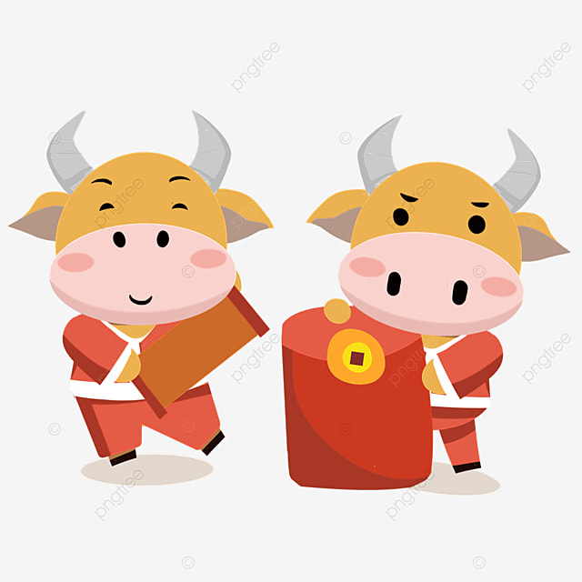 a cute new year ox holding spring couplets and red envelopes