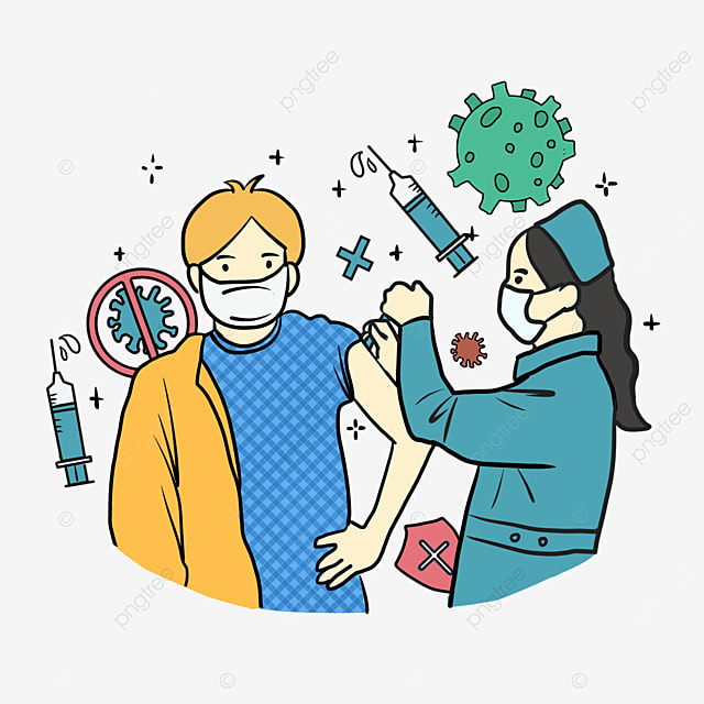 cartoon line style nurse new crown vaccine injection illustration