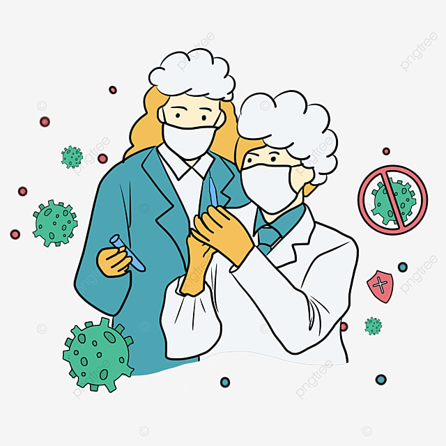 cartoon line style two doctors new crown vaccine injection illustration