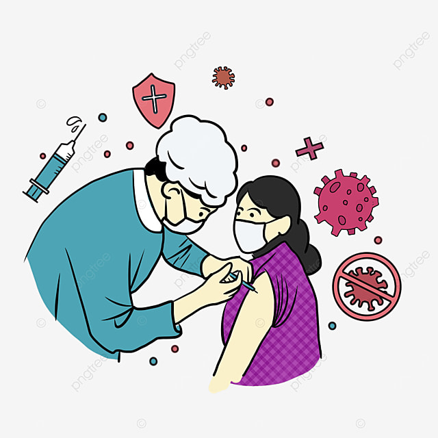 cartoon style doctor new crown vaccine injection