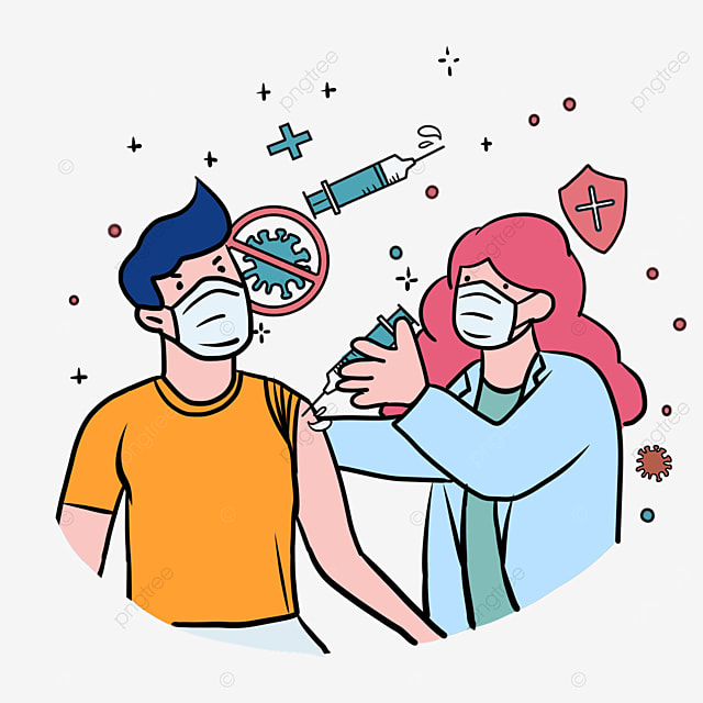 cartoon wind pink hair doctor new crown vaccine injection illustration