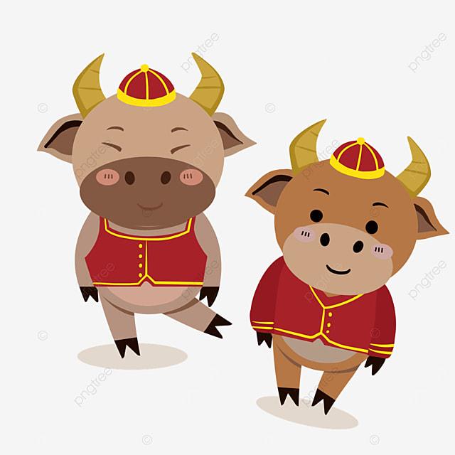 cute new year chinese new year ox zodiac illustration