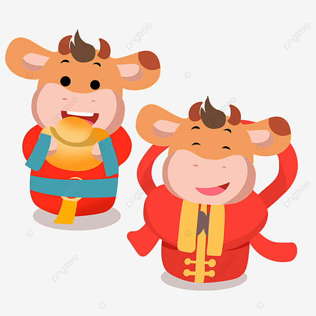 cute new year spring festival cow holding ingot