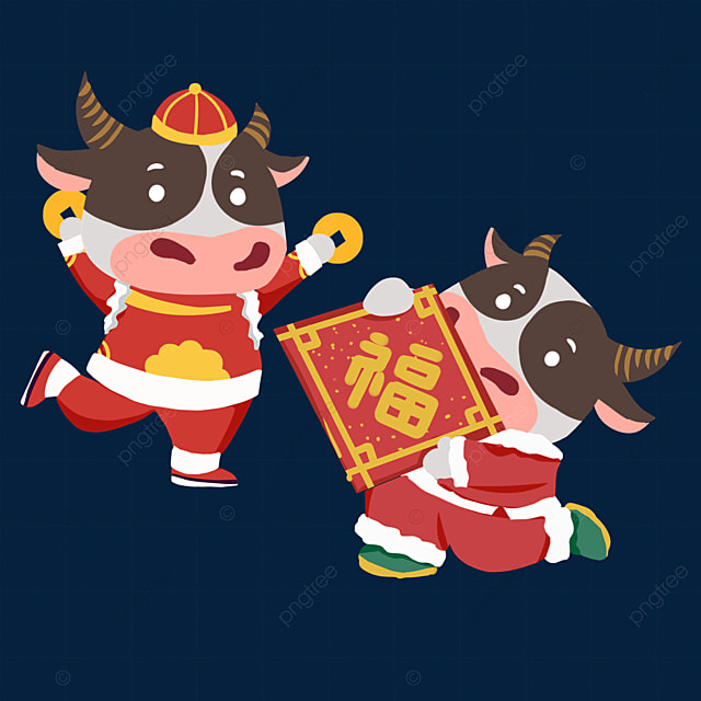 flat wind holding coins and blessing character new year spring festival ox zodiac illustration