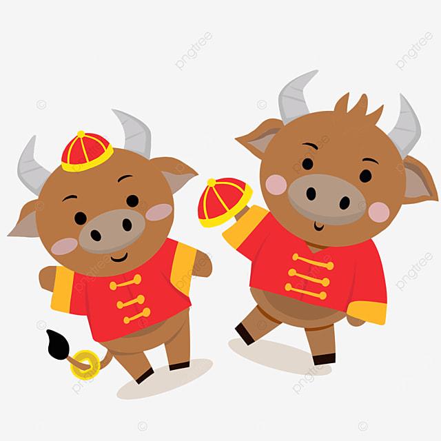 flat wind holding festive hat new year spring festival ox zodiac illustration