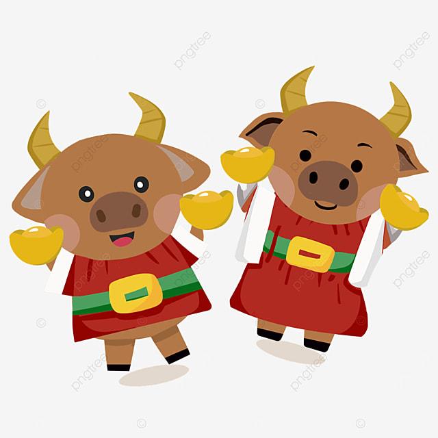 flat wind holding ingot new year spring festival ox zodiac illustration