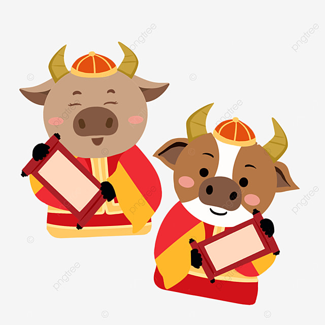 flat wind holding spring couplets new year spring festival ox zodiac illustration