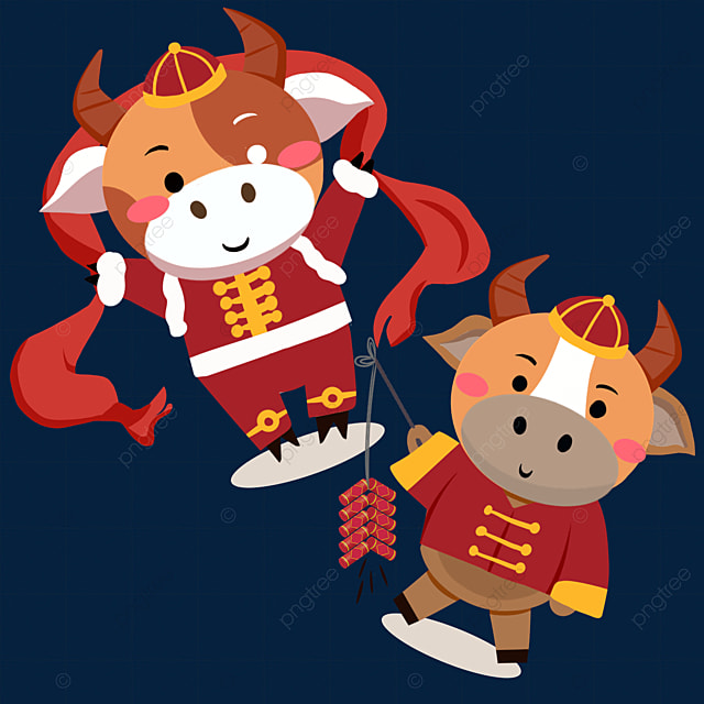 flat wind holding streamers and firecrackers new year spring festival ox zodiac illustration