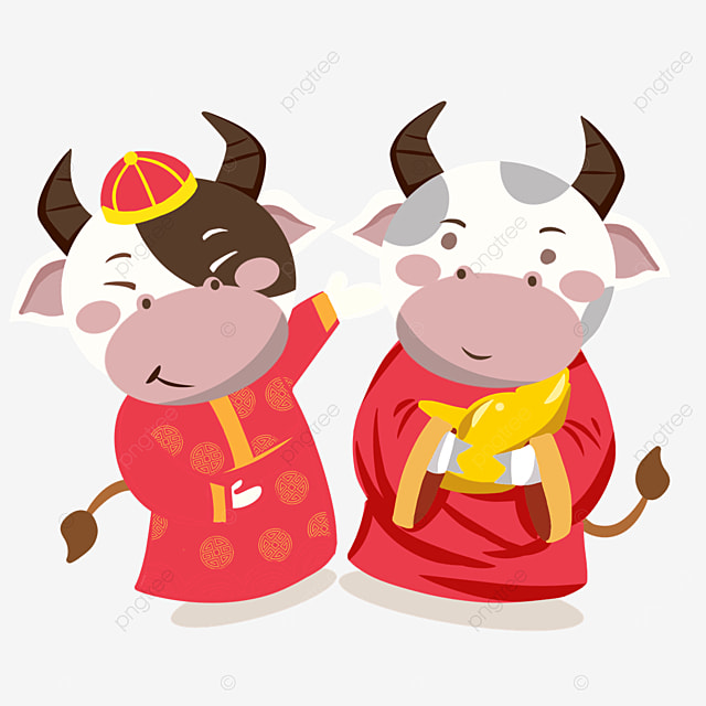 holding ingots wearing red official robe for new year spring festival cow illustration
