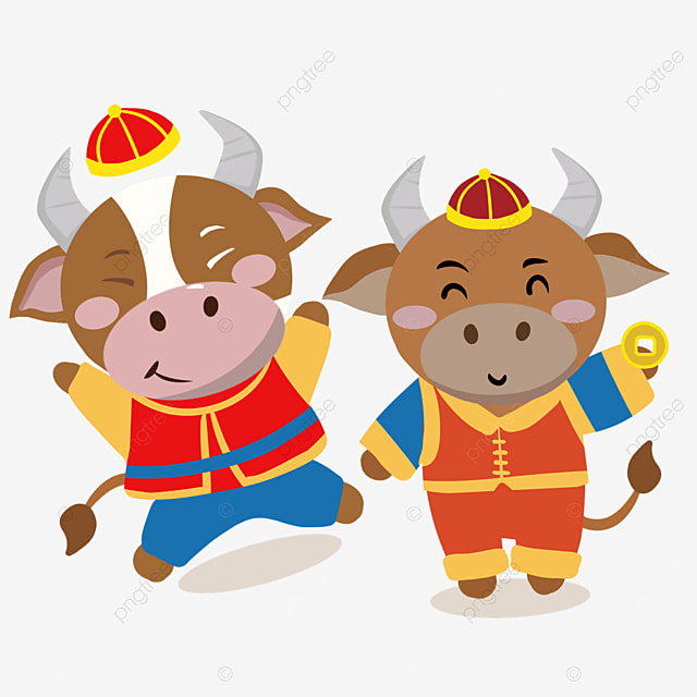 illustration of a new year spring festival cow holding coins and jumping