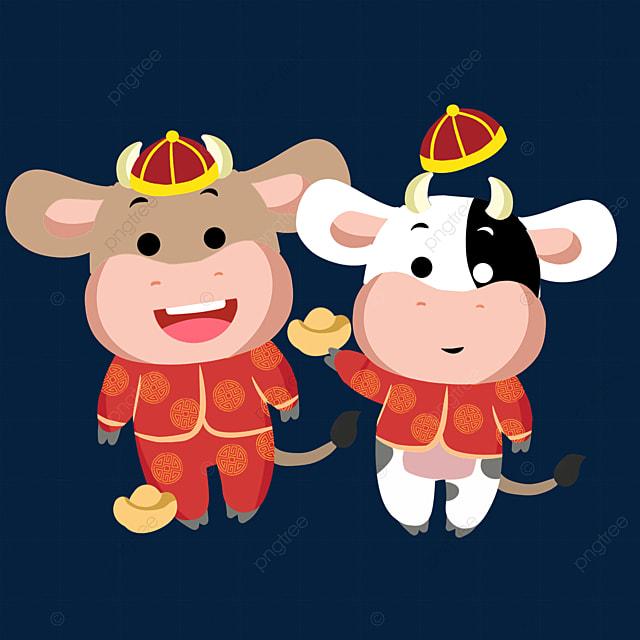 illustration of chinese new year ox zodiac sign holding ingot