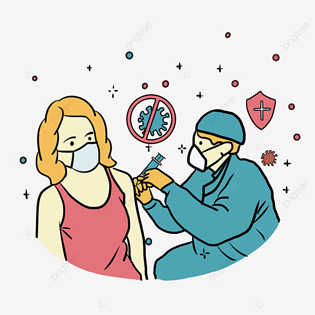 new crown vaccination blonde female illustration