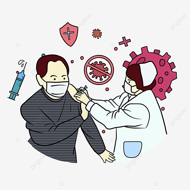 new crown vaccine injection middle aged male illustration