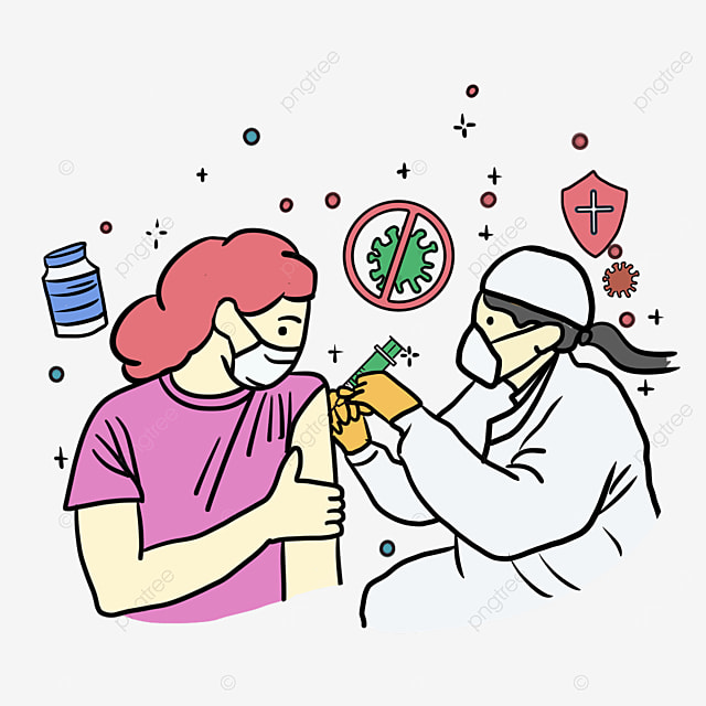 new crown vaccine injection pink girl illustration