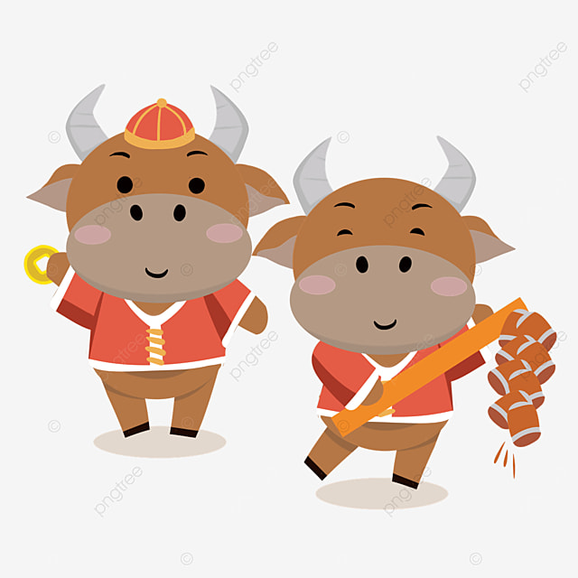 new year spring festival bull illustration holding coins and firecrackers