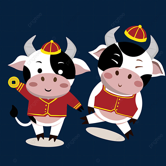 new year spring festival ox zodiac illustration holding coins