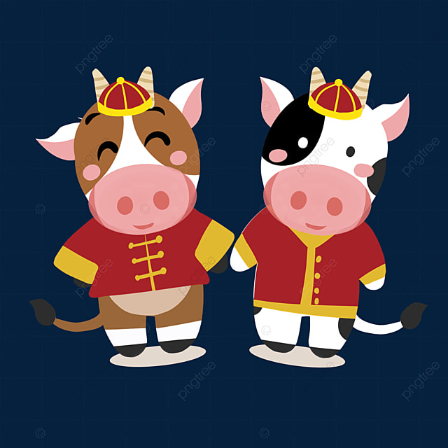 new year spring festival ox zodiac illustration holding hands