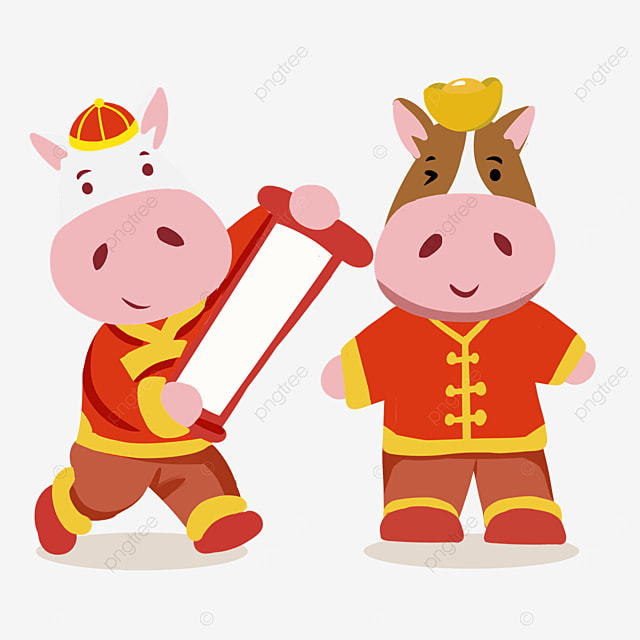 new years ox in red costume holding spring couplets