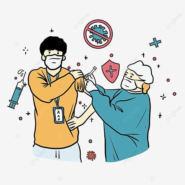 orange clothes boys new crown vaccine injection illustration