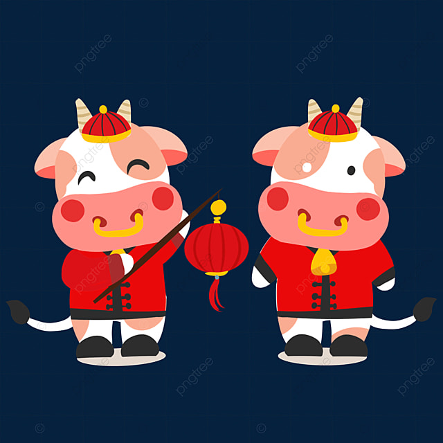 ox holding red lantern new year chinese new year