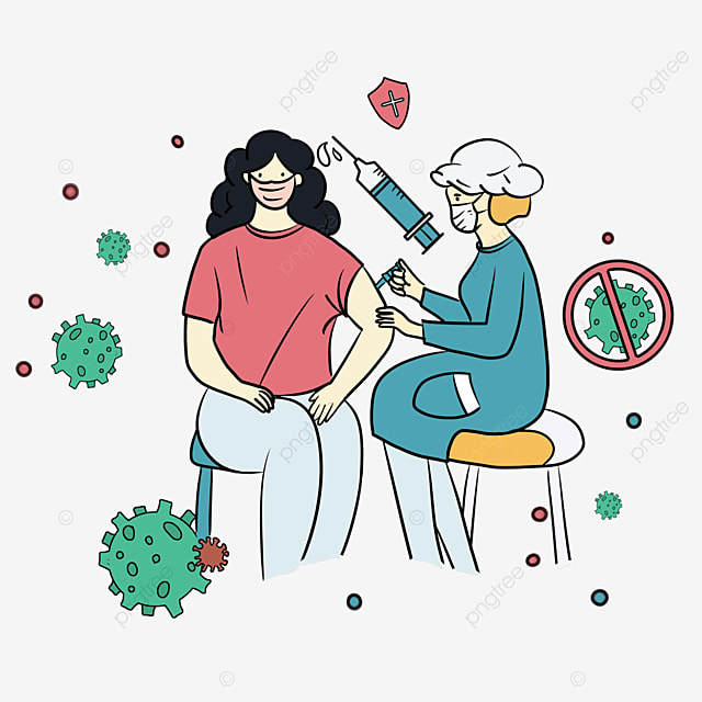 sitting girl with new crown vaccine injection illustration