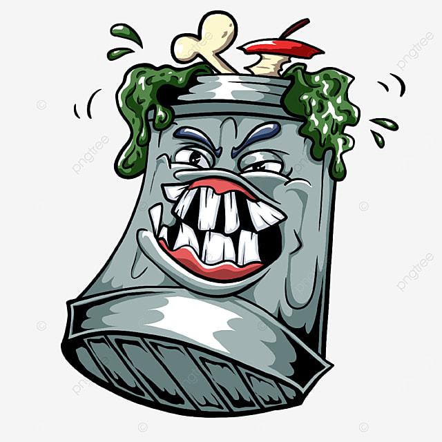 big teeth trash bin clipart