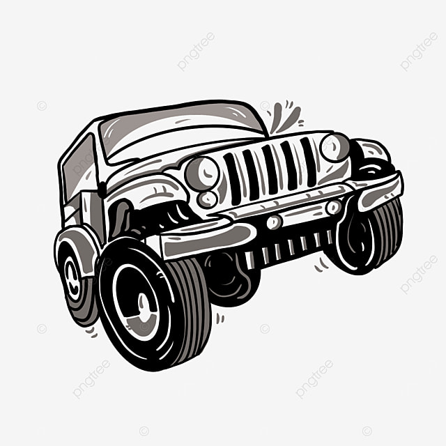 black and white jeep clipart