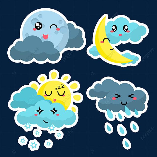 blue cloudy cute weather sticker