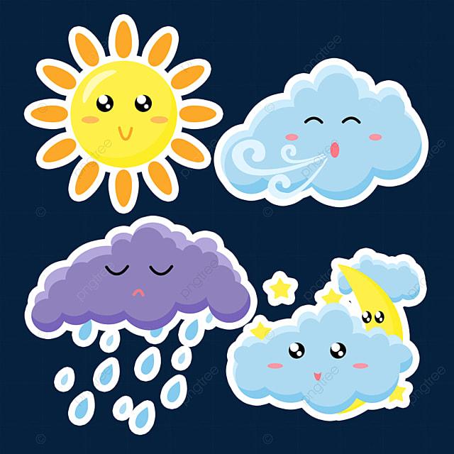 blue cute weather sticker