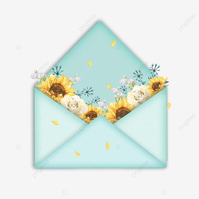 blue mothers day sunflower envelope