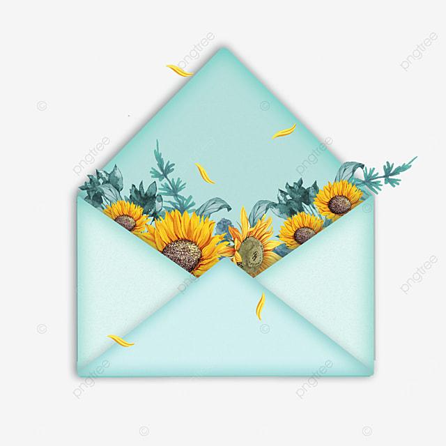 blue mothers day sunflower petal envelope