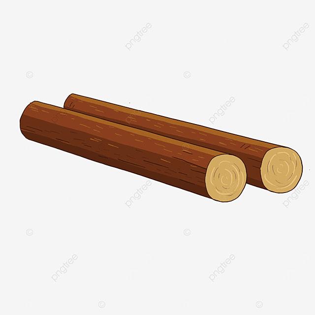 cartoon brown log wood clipart