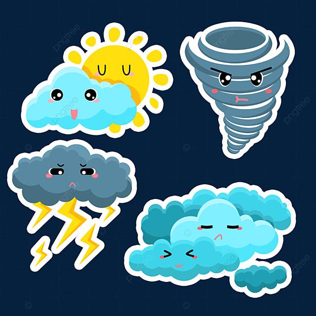 cartoon cute weather stickers