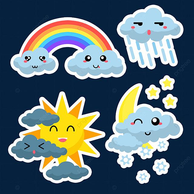 cartoon rainbow cute weather sticker