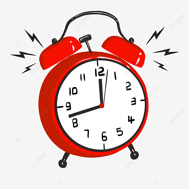 cartoon red black alarm clock siren clipart
